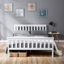 Lit Double en bois blanc 135x190 cm, lit en bois massif avec cadres à lattes, lit en pin pour adultes, enfants, adolescents