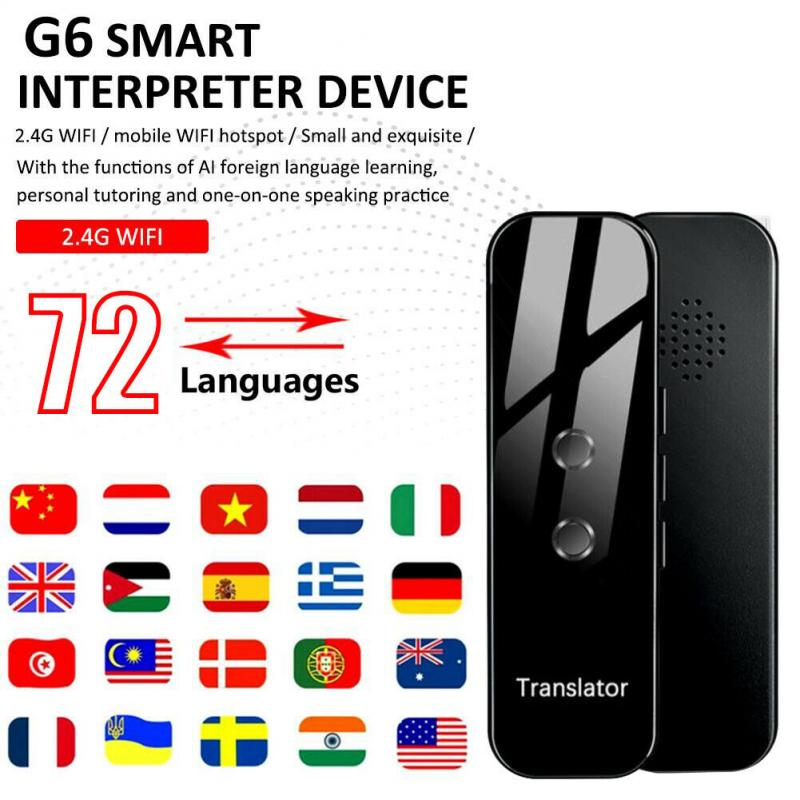 72 Languages G6 Translator Portable Audio Translator Intelligent Instant Real-time Smart Voice Language Offline Translator