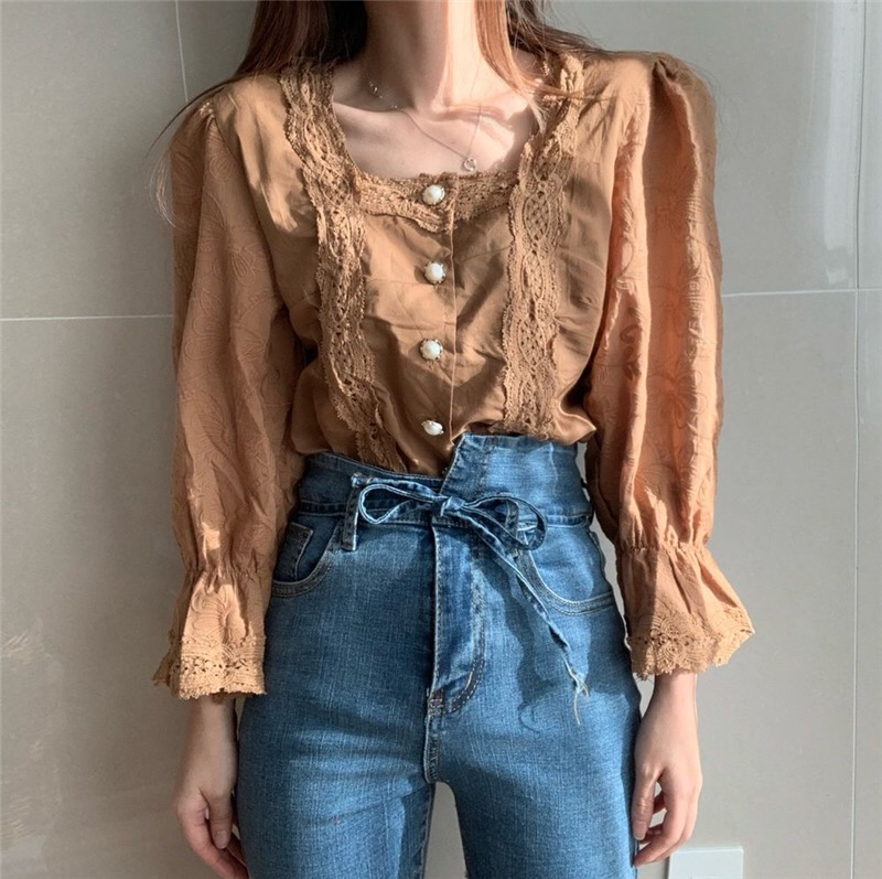 Hfdc9fd537d00490f96778b54bbb00bc2S - Spring / Autumn Square Collar Flare Sleeves Hollow Out Pearl Buttons Blouse