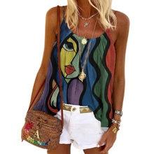 Aesthetic Print Vest Tshirt Women's Summer Casual Oversize Tops Loose Vintage Female Camis Tank Tee Streetwear Y2K Sling Clothes