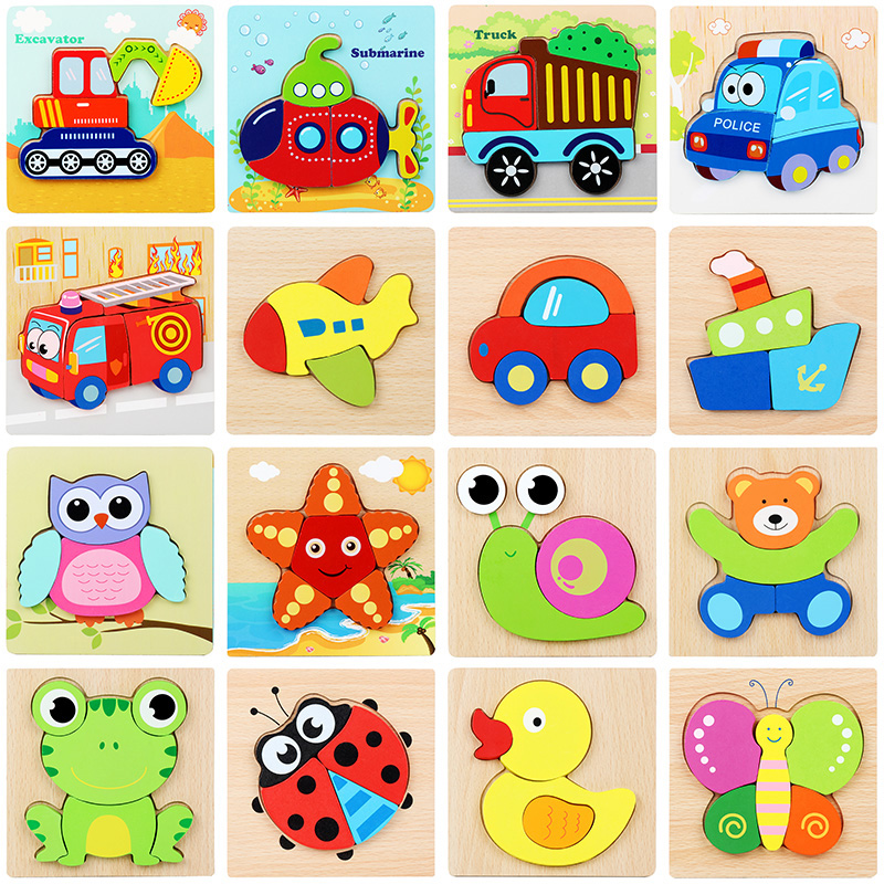 Hot Sale Wooden Toys 3d Puzzle Solid Wood Baby Handheld Jigsaw Puzzles Safety Wood Wooden Toy Children Educatonal Toys 5