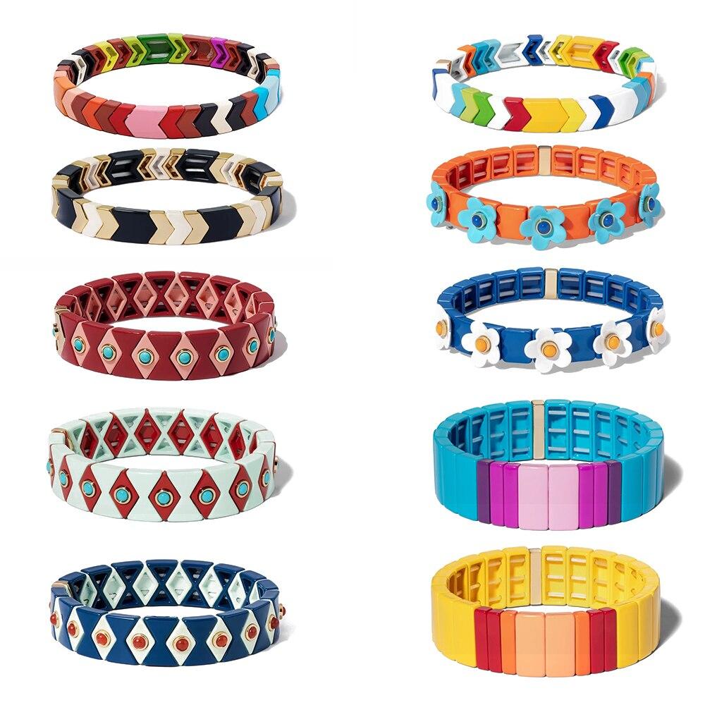 KELITCH Boho Tribal Bracelet Handmade Friendship Braided Stackable Enamel Rainbow Tile Bracelet Fashion Women Cuff Bangles New(China)