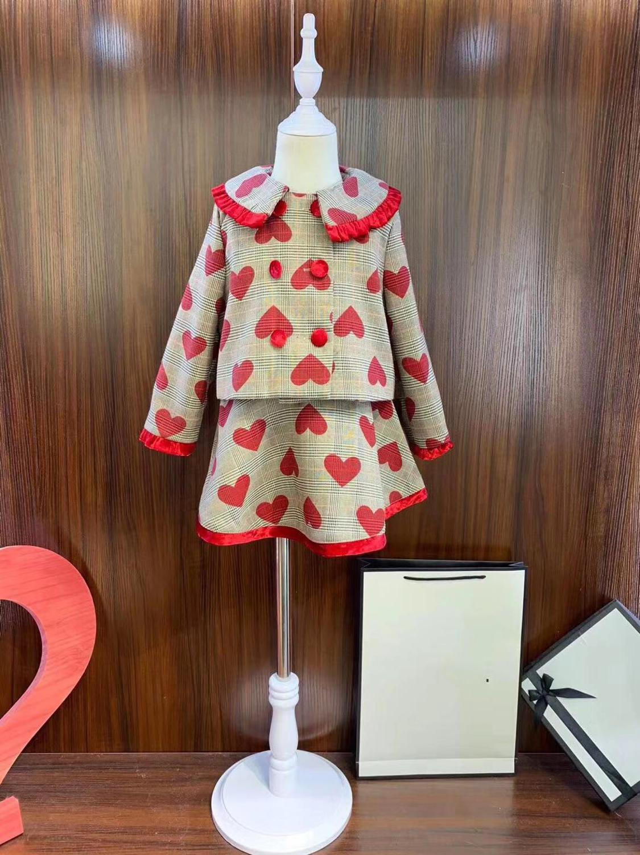 В наличии красное пальто с принтом + юбка Модный комплект одежды для девочек, верхняя одежда, брендовый эксклюзивный пиджак 100 до 140 см