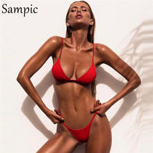 Sampic-maillot de bain sexy pour femmes, style brésilien, soutien-gorge push up, culotte tanga, bikini, vêtements d'été, blanc, noir et rouge, 2020
