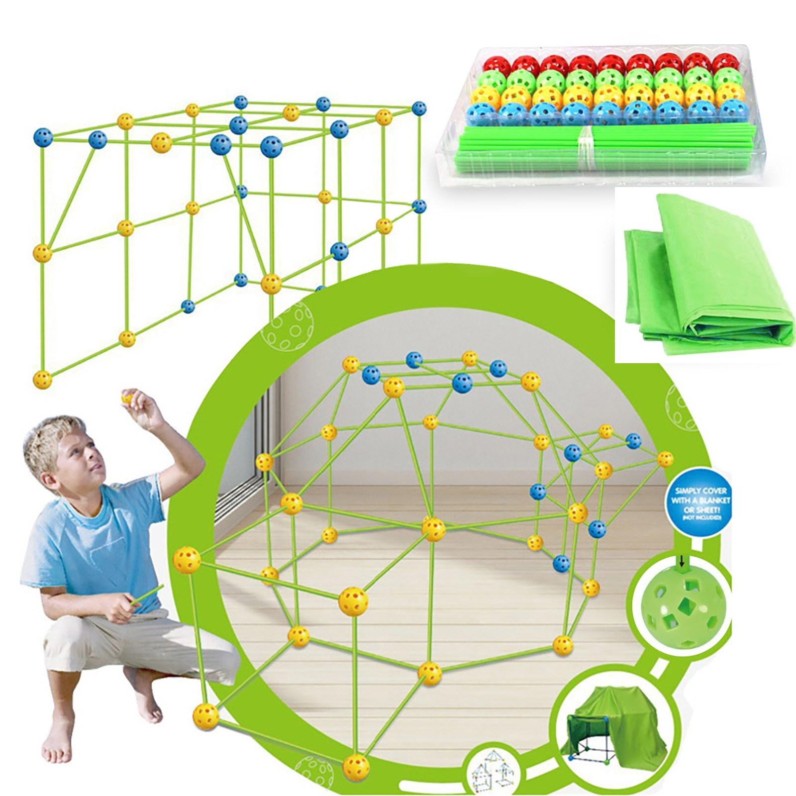Çocuklar inşaat Fort binası kaleler tünelleri çadır kiti DIY 3D oyun evi bina oyuncaklar için Boys kızlar festivali doğum günü hediyesi