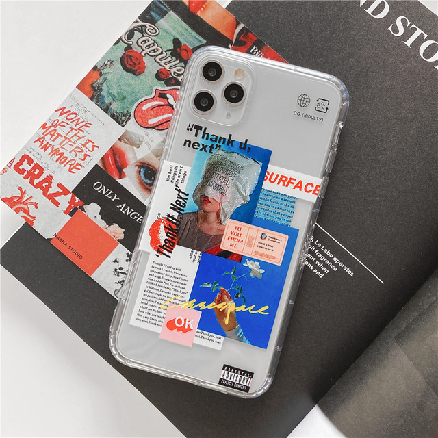 Funny Fashion art Label Transparent Phone Case for iPhone 11 Pro Max X XR XS Max se 2020 2 Case for iPhone 7 8 Plus Soft Cover