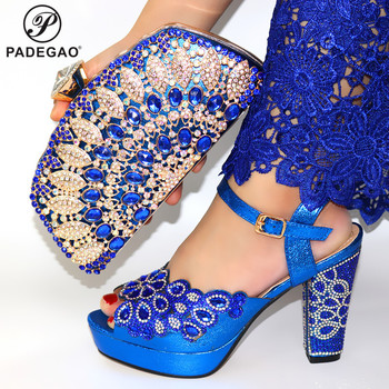 Blue High Quality African Woman Sandals Shoes With Purse Set Nigerian Retro High Heels Shoes And Bag Set For Wedding Party