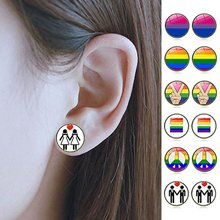 Earring Bi Pride Stud Earring Jewelry Hypoallwergenic Ear Nail Gay Pride Glass Cabochon Earrings Luxury(China)