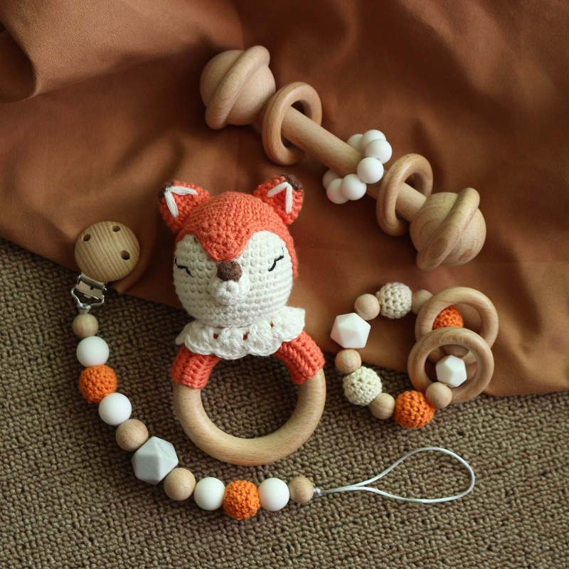 Baby Rattle Crochet Elk Fox Bear Teether Rattle With Bells Newborn Montessori Educational Toy Wooden Rings Baby Toys