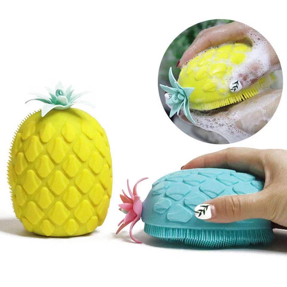 2pcs Bath Brush Pineapple Shape Bathroom Massage Sponge Soft Silicone Bath Body Brush For Peeling Body Bath Brush Exfoliating