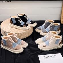SWYIVY futro damskie zimowe buty śniegowe buty kobieta moda 2019 mieszane kolory botki dla kobiet pluszowe botki gumowe buty damskie