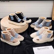 Zapatos de invierno para mujer de piel SWYIVY, botas de nieve para mujer, moda 2019, botines de mujer de colores mezclados, botines de felpa, zapato de goma para mujer
