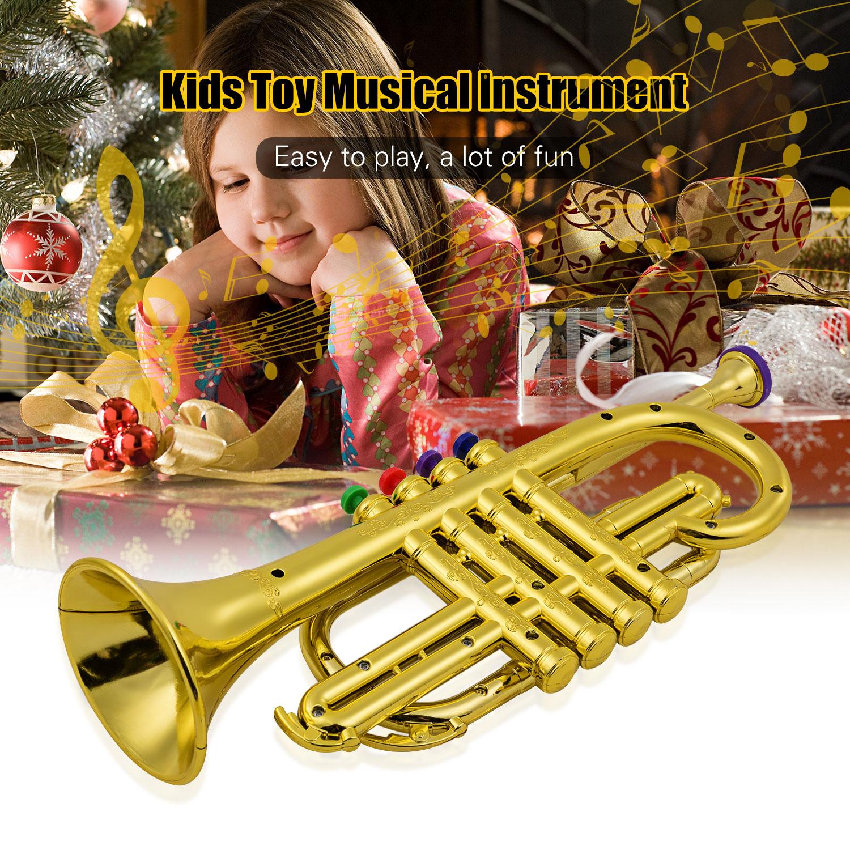 metal ouro trompete com 4 teclas coloridas