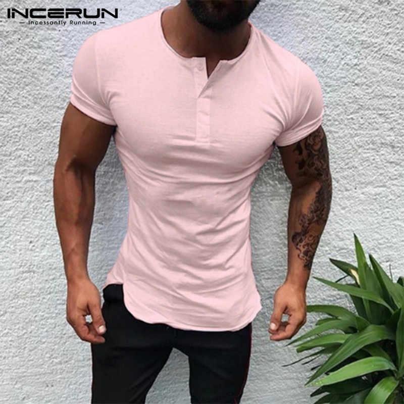 Şık düz renk Tee Tops erkekler T gömlek kısa kollu vücut geliştirme Tees erkek giyim spor moda yuvarlak boyun rahat T-Shirt