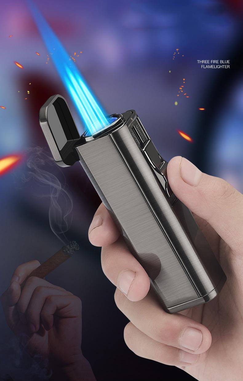 Металлический тройной фонарь зажигалка для струи турбо сигарет