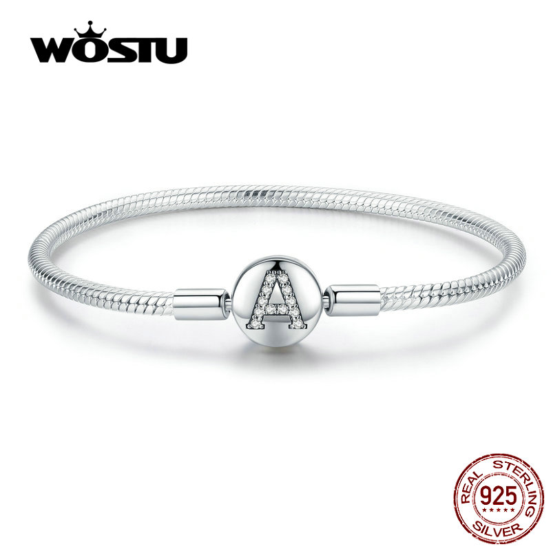 WOSTU Alphabet Letter A Bracelets 925 Sterling Silver Zircon Charm Bracelets For Women Wedding Fashion Jewelry CQB140