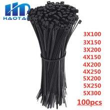 Самоблокирующиеся пластиковые нейлоновые кабельные стяжки на молнии 100 шт черные кабельные стяжки крепежные Петли Кабеля различные спецификации
