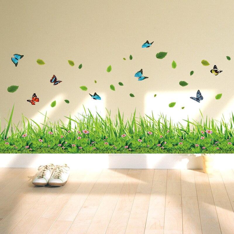 Adesivos de parede borboleta, grama verde, colorido, flor, saia, adesivos de parede para sala de estar, quarto, banheiro, decalque vinil, arte para casa, decoração dc23