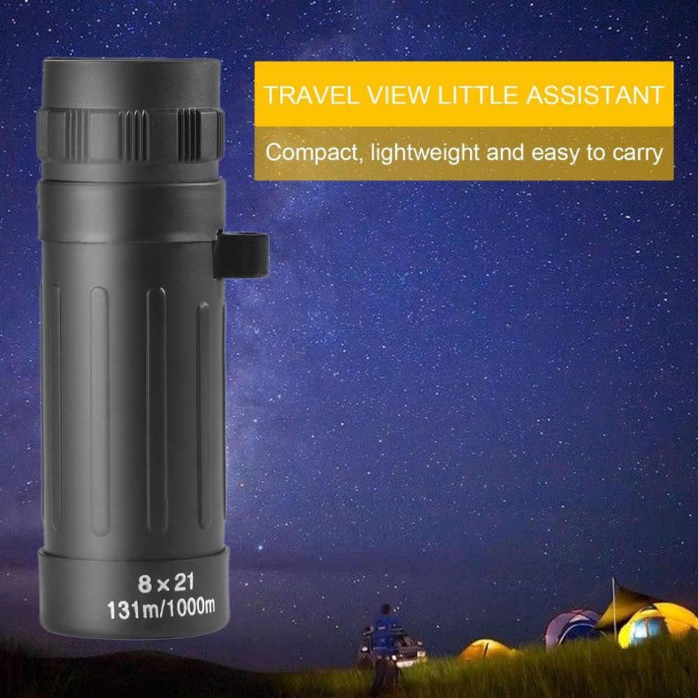 8X กล้องโทรทรรศน์เดียว 8X21 แคมป์ล่าสัตว์กีฬา Telescope ขอบเขต Monocular ขนาดกะทัดรัดกล้องส่องทางไกลแบบพกพาสีดำ dropshippin