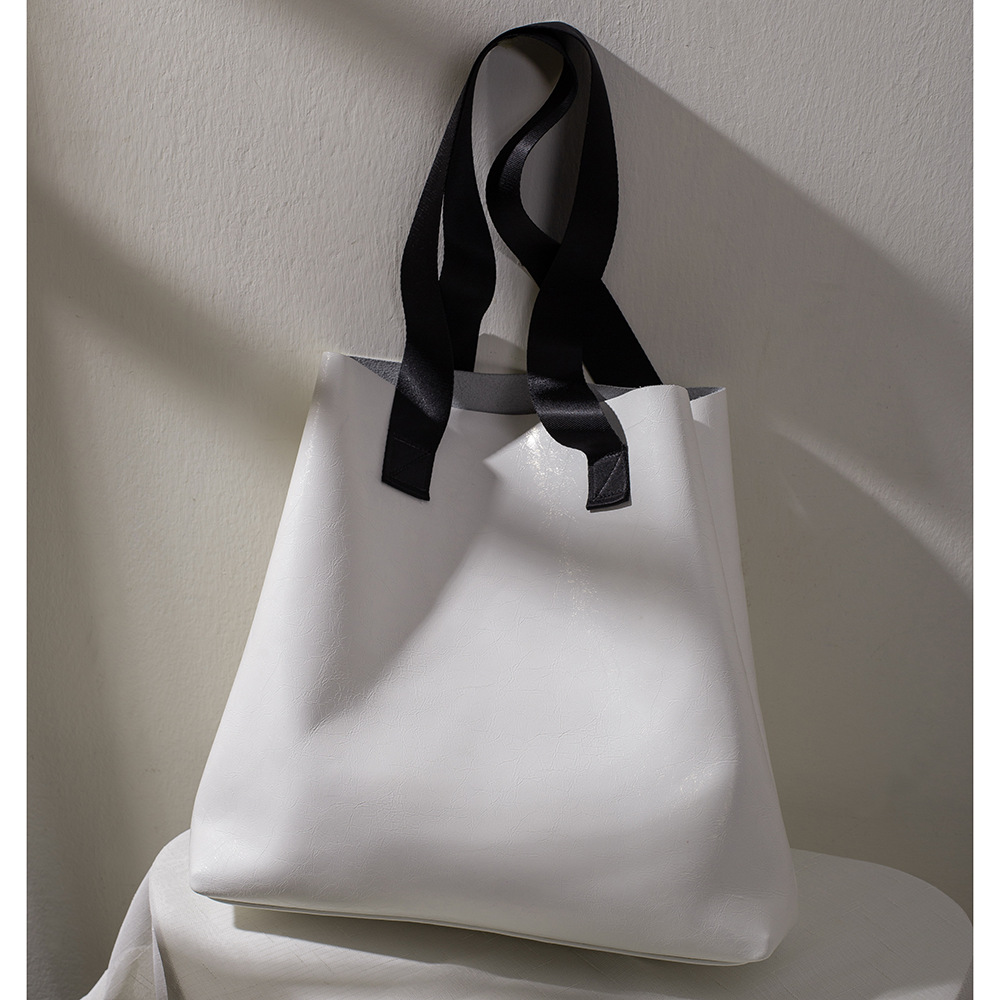2020 New Style Tote White Non-mainstream Cool Minimalist Casual Large Fashionable Europe And America Casual Cowhide Toth WOMEN'S(China)