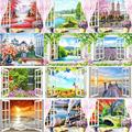 RUOPOTY Frame Diy Painting By Numbers Window Picture Landscape Modern Wall Art Picture By Numbers For Home Artwork 60x75cm Gift
