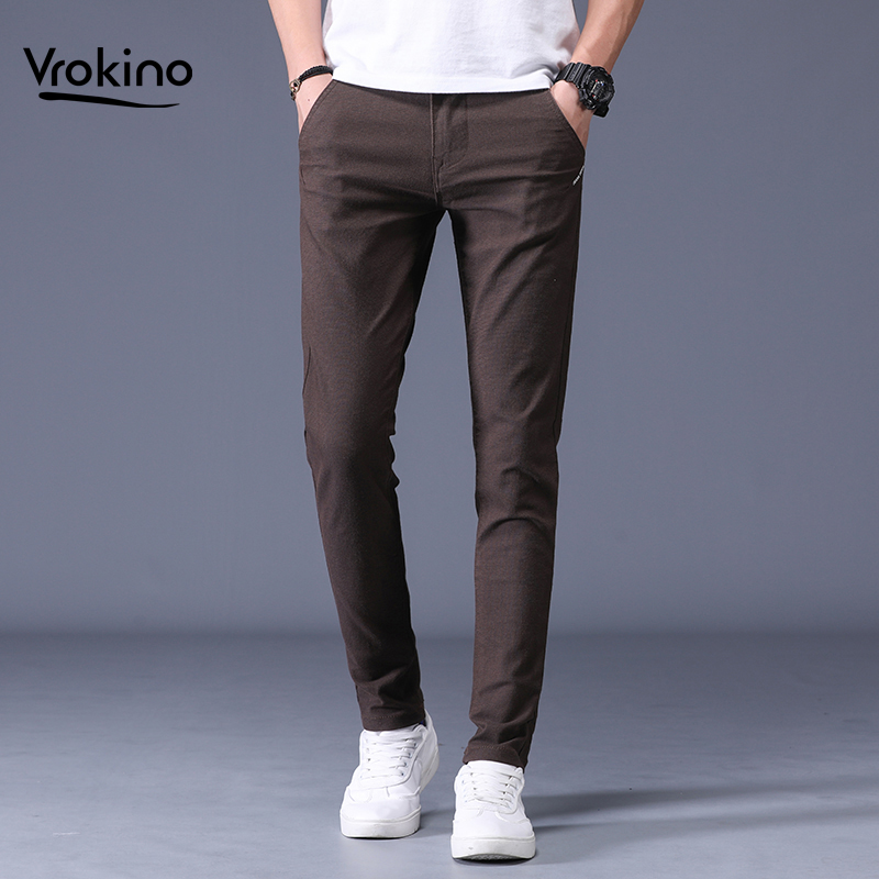 VROKINO 2019 Autumn And Winter New Style Men's Casual Pants Cotton Slim Solid Color Fashion Pants Brand Clothing