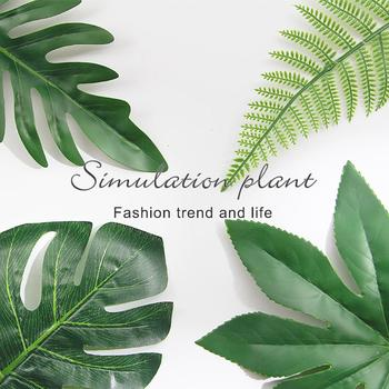 1Pcs Artificial Plants Tropical Monstera Palm Leaves Simulation Leaf For Hawaiian Theme Party Decor Home Garden Fake Leaves image