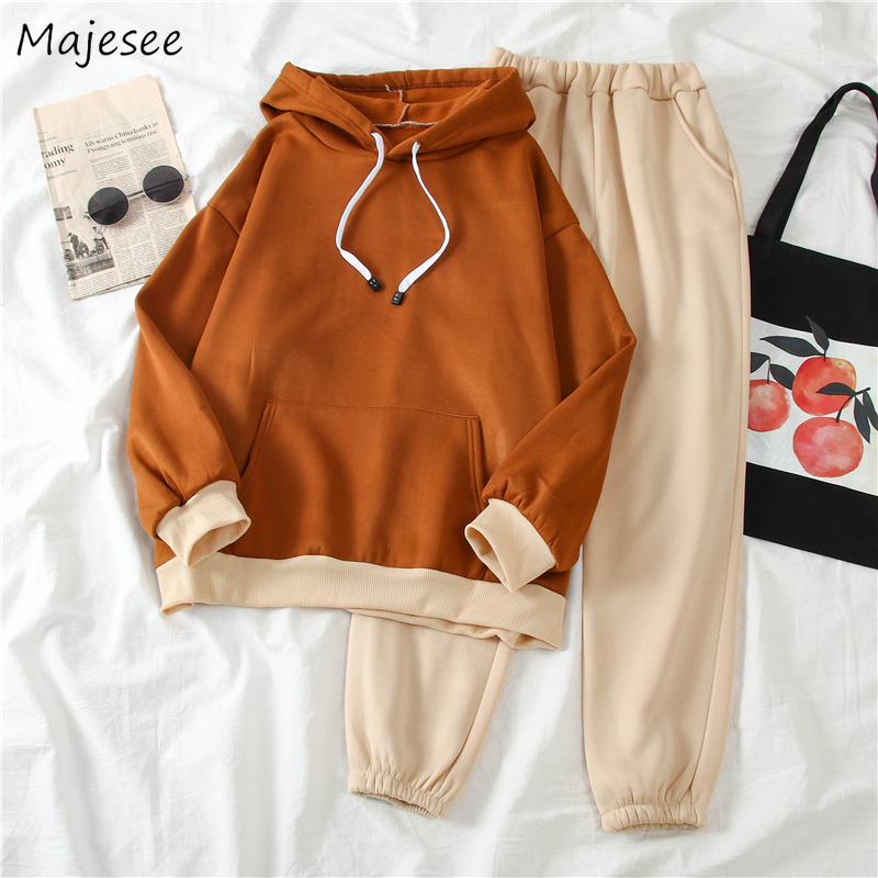 Women Two Piece Sets Winter Plus Velvet Thicker Khaki Loose BF Harajuku Pocket Hooded Korean Style Elastic Waist Long Trousers