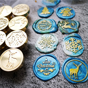 Image 1 - 2020 new Merry christmas wax seal stamp jingle bell Snowflake Santa Claus deer sock tree christmas gifts Retro sealing wax Stamp