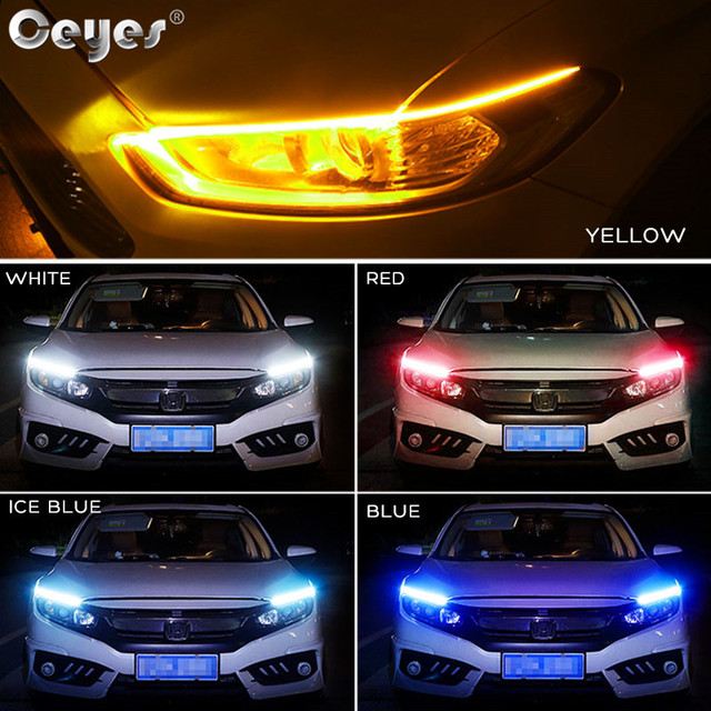 Ceyes 2pcs Led DRL Daytime Running Lights Turn Signal DRL Led Strip Car Light Accessories Brake