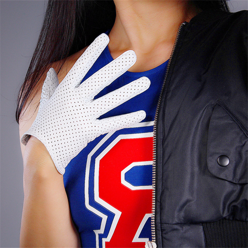 Real Leather Touchscreen Gloves 16cm Ultra Short Pure Sheepskin Female Touch White Mesh Sports Golf Women Gloves WZP02