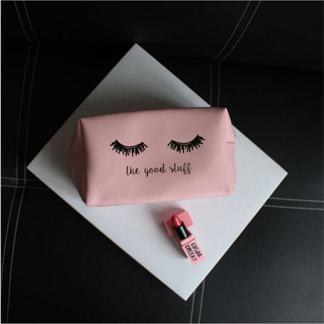 Cute Pink Zippered Cosmetic Bag