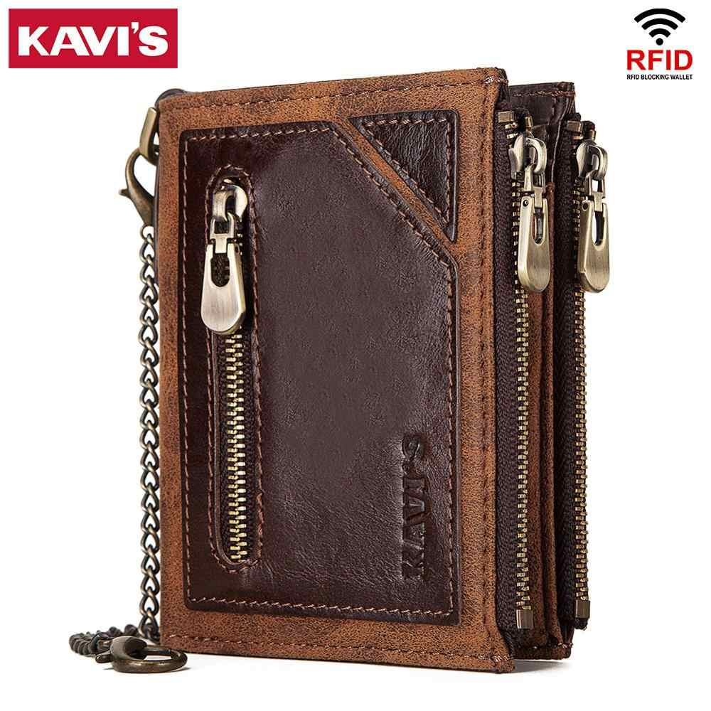 KAVIS Rfid 100% Genuine Leather Wallet Men Portomonee  Card Holder Coin Purse Small Male Money Bag Quality Mini crazy Horse