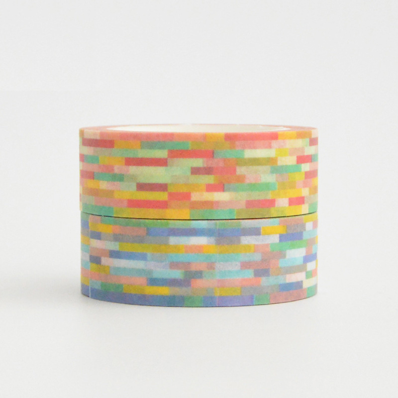 NEW 1pc Cute Colored Brick Mosaic Washi Tape DIY Craft Decorative Scrapbooking Planner Adhesive Masking Tape Kawaii Stationery image