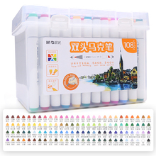 M&G marker pen 12/24/36/48/60/80/108 color double head art markers anime student design beginners colored marker art supplies sta double head marker pen 12 24 36 48 60 80colors 1 4mm alcohol based ink non toxic art markers for student and designer