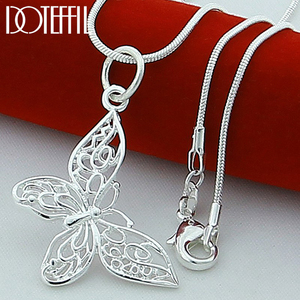 DOTEFFIL 925 Sterling Silver Butterfly Necklaces Pendants For Women Elegant Butterfly 18 inch Snake Chain Necklace Jewelry