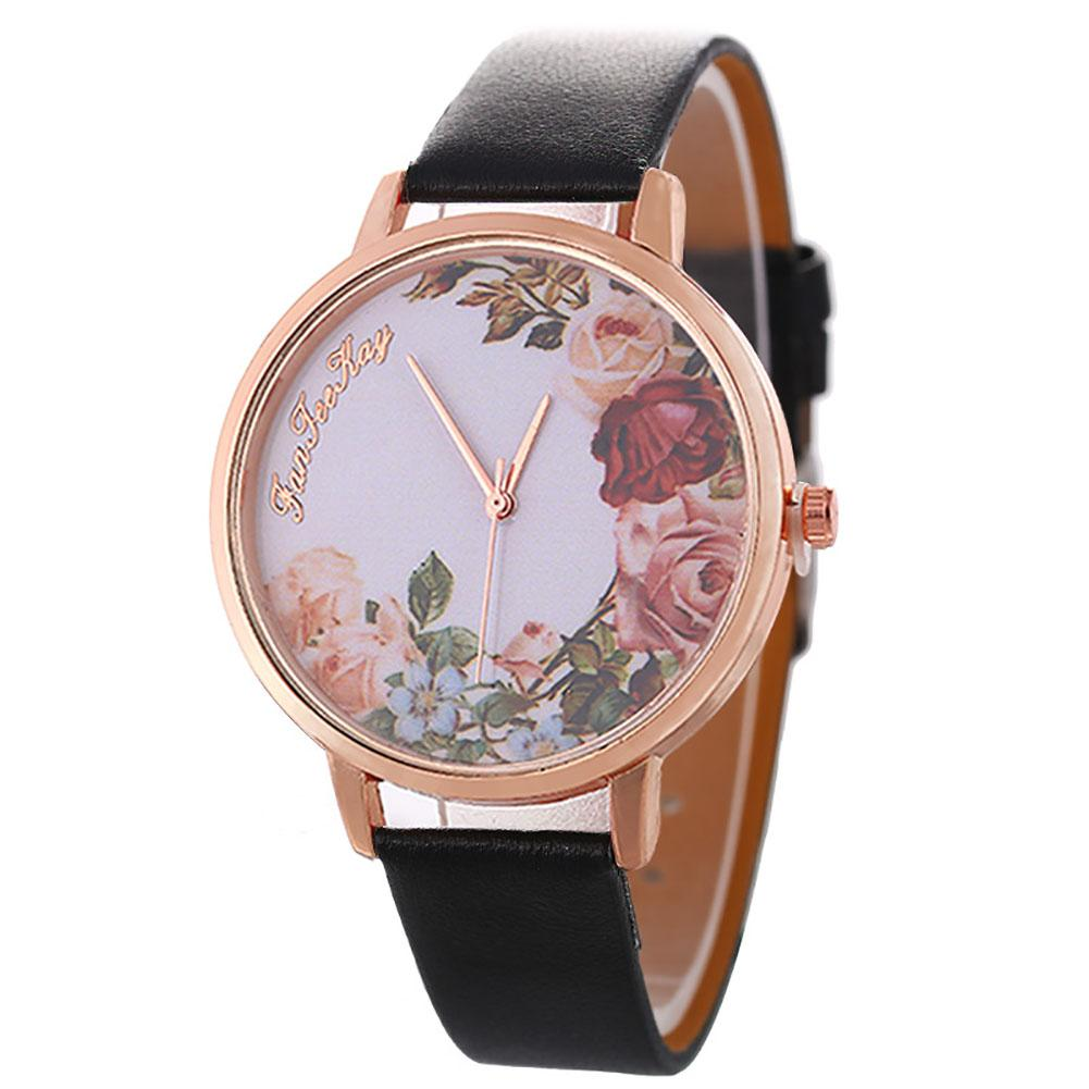 Watches Casual Women Jewelry Flower Pattern Faux Leather Band Analog Quartz Wrist Watch Horloges Vrouwen Ladies Dress Watches Gi