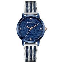 Mini foco relógios femininos marca de luxo moda casual senhoras relógio de quartzo rosa ouro malha banda aço menina reloj mujer montre femme