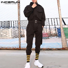 INCERUN Fashion Men Cargo Overalls Solid Hooded Long Sleeve Streetwear Jumpsuits Joggers Pockets Casual Rompers With Belt 2021