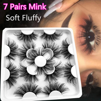 5/7Pairs 25mm Soft Fluffy 3D Mink False Eyelashes Dramatic Long Wispies Lash Extension Natural Volume Beauty Handmade Eye Makeup 1