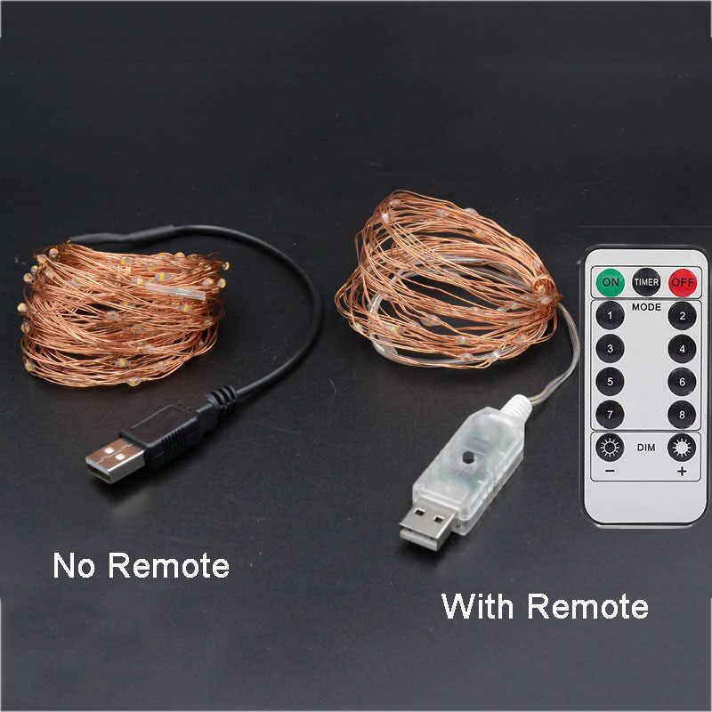 Guirnalda de luces LED de hadas para interiores/exteriores, resistente al agua, 5 V, alimentada por USB, guirnalda de cuerdas para Navidad, Navidad, fiesta de bodas