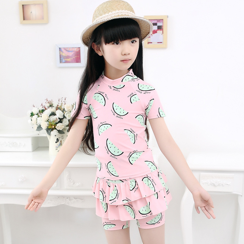 CHILDREN'S Swimwear Korean-style Cute Skirt Boxer Conservative Middle And Large Girls Hipster Printed Swimwear