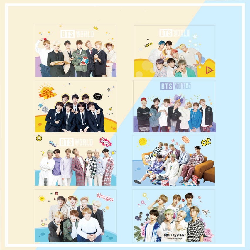 Korean Star Group K Pop Bangtan Boys Blackpink Txt Izone Kawaii 8pcs Fans Support Transparent Kpop Photocards Kpop Stationery