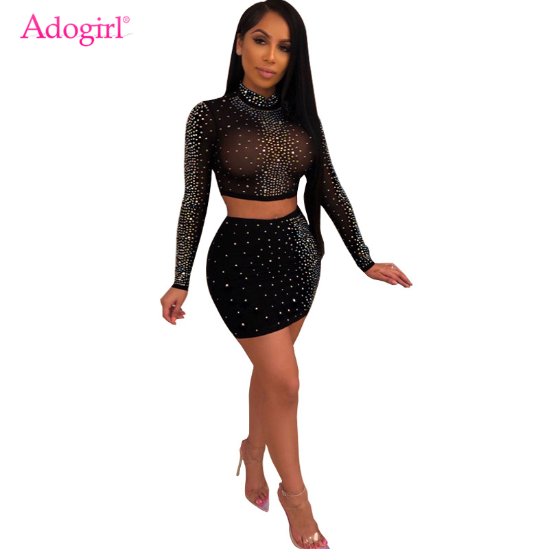 Adogirl Diamonds Sheer Mesh Two Piece Set Women Sexy Dress Mock Neck Long Sleeve Crop Top Bodycon Mini Skirt Night Club Outfits