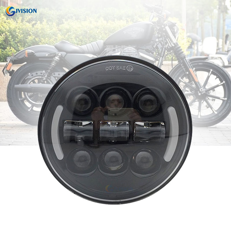 Round 5.75 inch Motorcyle led headlight White DRL Yellow Turn signal for Dyna <font><b>Street</b></font> 500 <font><b>XG750</b></font> Sportster 1200 Iron 883 image