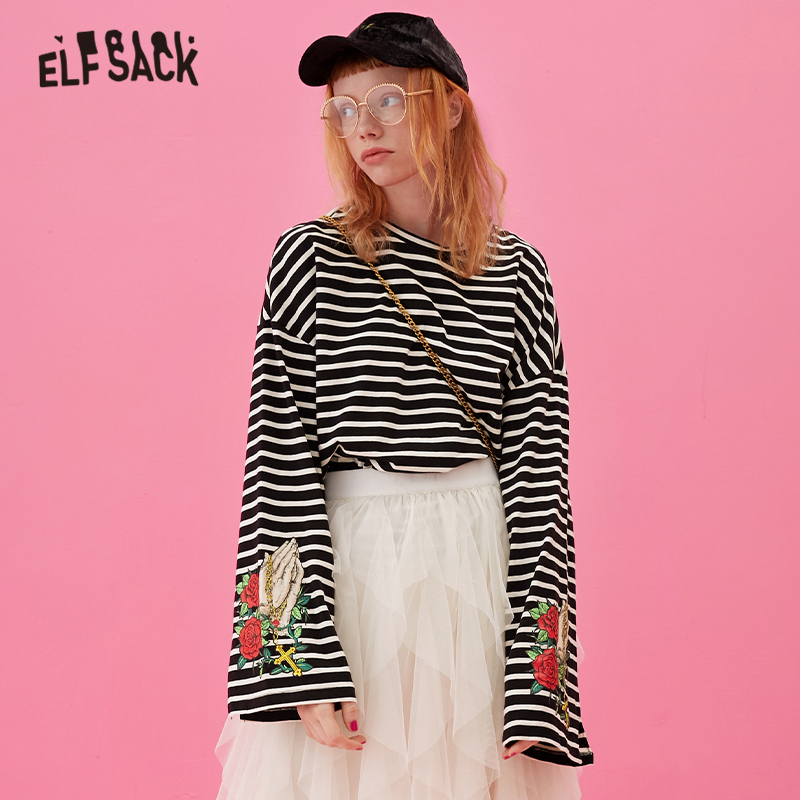 ELFSACK Striped Floral Print Casual T Shirt Women Top 2019 Autumn Korean Style Ladies Long Sleeve Shirts