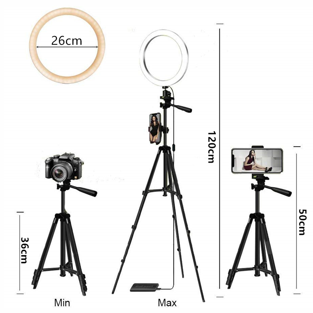 cheapest Photo LED Selfie Stick Ring Fill Light Dimmable Camera Phone Ring Lamp with Stand Tripod for Makeup Video Live Studio DJ