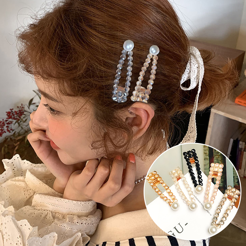 Fashion Female Rhinestone Pearl Hair Clips Glitter Elegant Wedding Accessories Popular For Women Sweet Girls