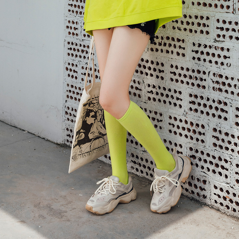 Women Lower Knee Socks Thigh High Stockings Opaque Warm Japanese School Student Black Stripe Long Cotton  Sock