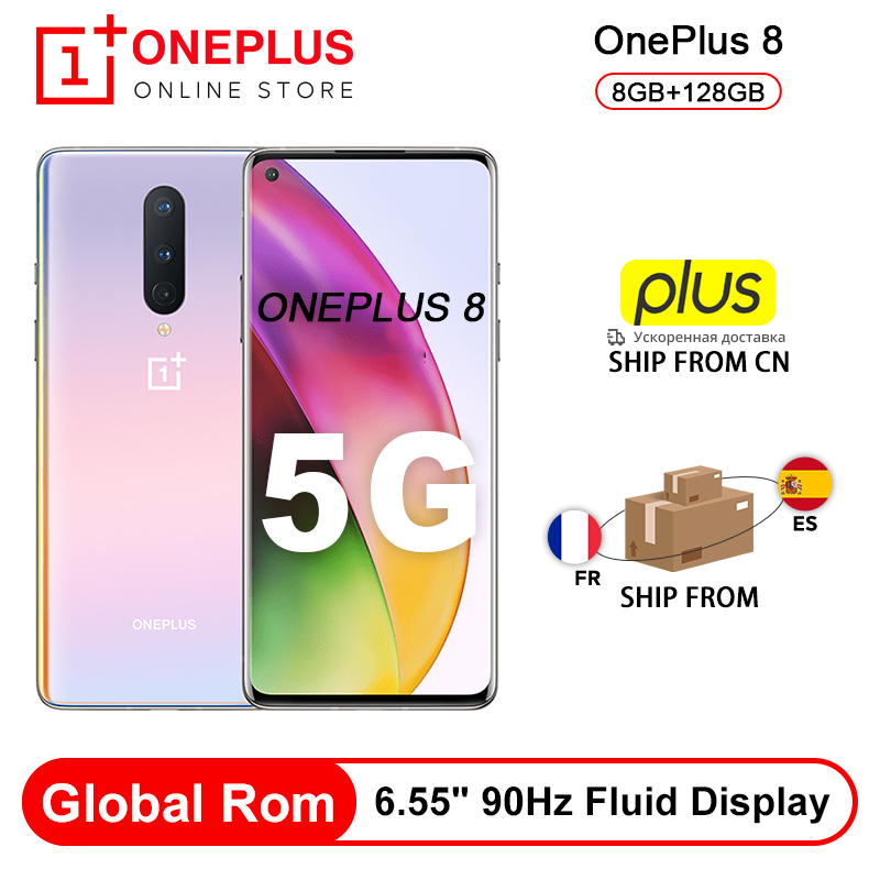Rom Global OnePlus 8 5G teléfono inteligente 8GB 128GB Snapdragon 865 Octa Core 6,55